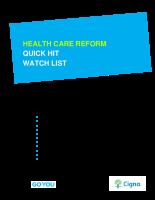 CIGNA Health Care Reform Quick Hit Watch List