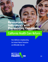DMHC Health Reform Toolkit Pre-Existing Conditions