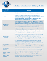 Health Care Reform Summary of Changes for 2013
